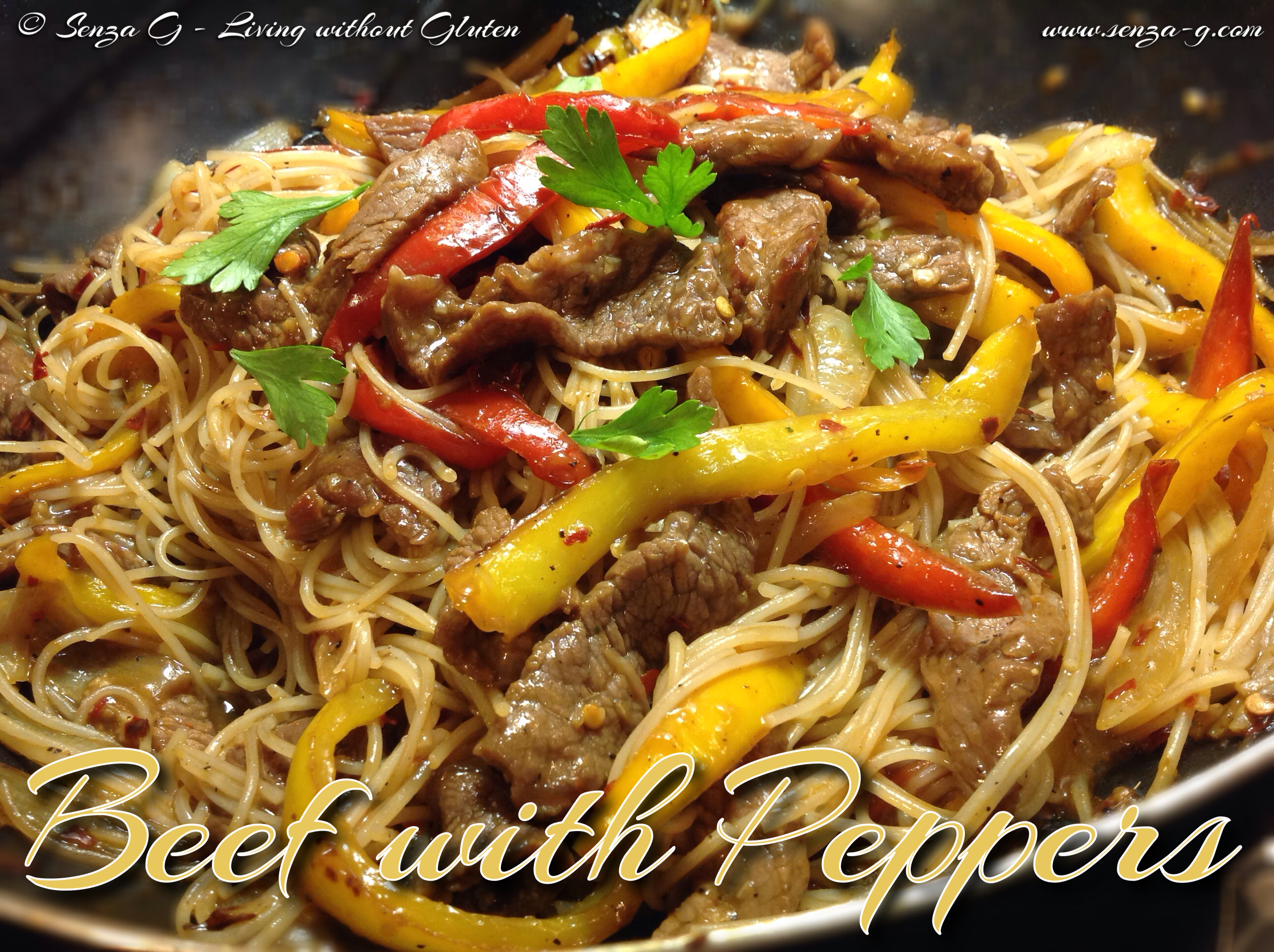 BEEF WITH PEPPERS & BASMATI SPAGHETTI Senza-G